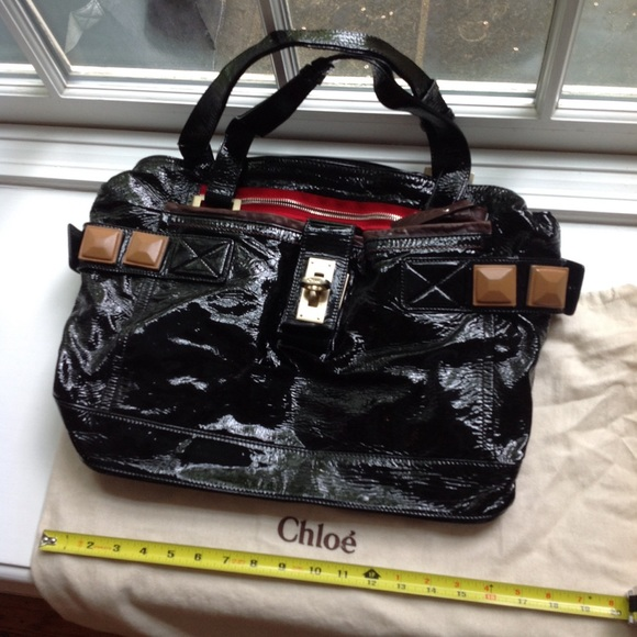 Chloe Handbags - Chloe black patent leather bag with red zippers